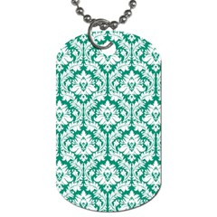 White On Emerald Green Damask Dog Tag (One Sided)