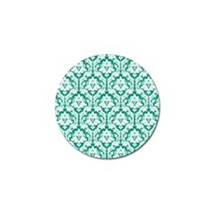White On Emerald Green Damask Golf Ball Marker 4 Pack