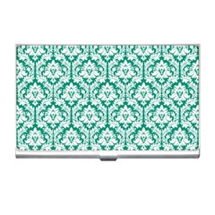 White On Emerald Green Damask Business Card Holder