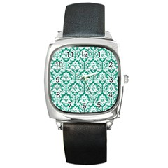 White On Emerald Green Damask Square Leather Watch