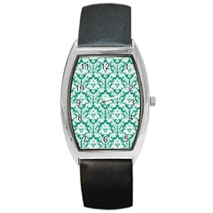 White On Emerald Green Damask Tonneau Leather Watch