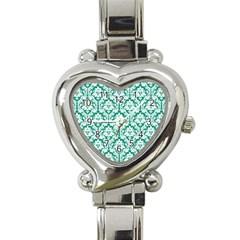 White On Emerald Green Damask Heart Italian Charm Watch