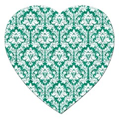 White On Emerald Green Damask Jigsaw Puzzle (Heart)