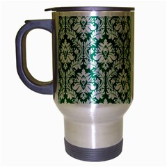 White On Emerald Green Damask Travel Mug (Silver Gray)