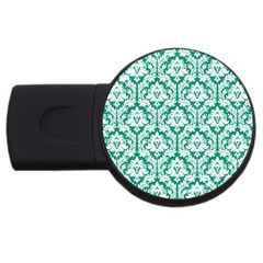 White On Emerald Green Damask 4GB USB Flash Drive (Round)