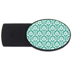 White On Emerald Green Damask 4gb Usb Flash Drive (oval)