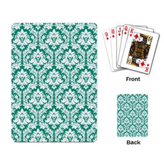 White On Emerald Green Damask Playing Cards Single Design