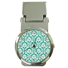 White On Emerald Green Damask Money Clip with Watch