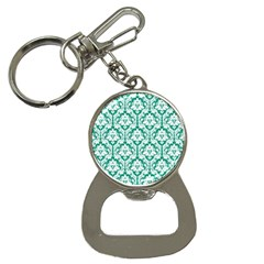White On Emerald Green Damask Bottle Opener Key Chain