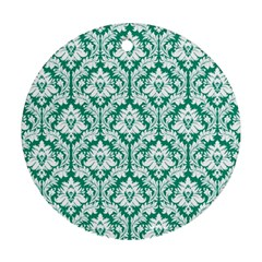 White On Emerald Green Damask Round Ornament (Two Sides)