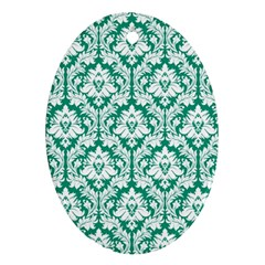 White On Emerald Green Damask Oval Ornament (Two Sides)