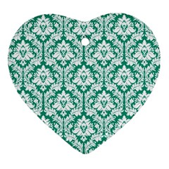 White On Emerald Green Damask Heart Ornament (two Sides)
