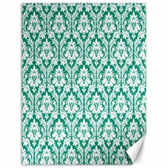 White On Emerald Green Damask Canvas 12  x 16  (Unframed)