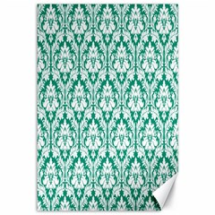 White On Emerald Green Damask Canvas 12  x 18  (Unframed)