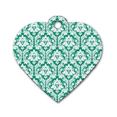 White On Emerald Green Damask Dog Tag Heart (Two Sided)