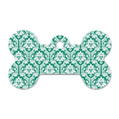 White On Emerald Green Damask Dog Tag Bone (One Sided)