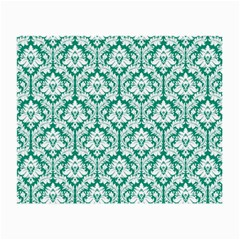 White On Emerald Green Damask Glasses Cloth (Small, Two Sided)