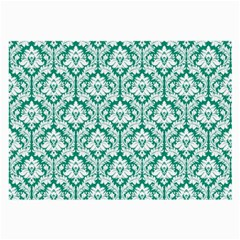 White On Emerald Green Damask Glasses Cloth (Large, Two Sided)