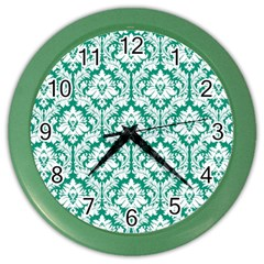 White On Emerald Green Damask Wall Clock (Color)