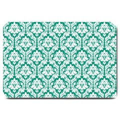 White On Emerald Green Damask Large Door Mat
