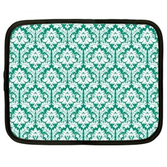 White On Emerald Green Damask Netbook Sleeve (large)