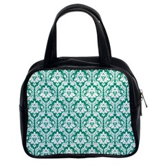 White On Emerald Green Damask Classic Handbag (two Sides)