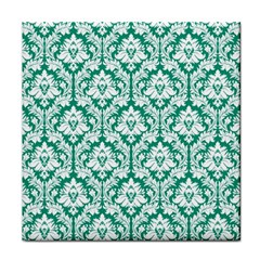 White On Emerald Green Damask Face Towel