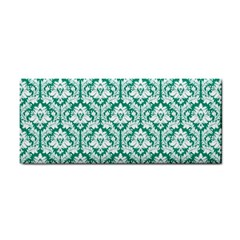 White On Emerald Green Damask Hand Towel