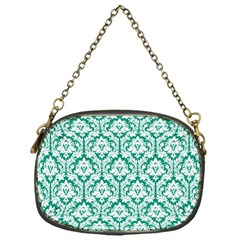 White On Emerald Green Damask Chain Purse (One Side)