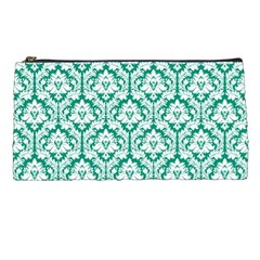White On Emerald Green Damask Pencil Case