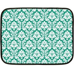 Emerald Green Damask Pattern Double Sided Fleece Blanket (Mini)