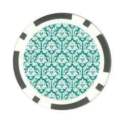 White On Emerald Green Damask Poker Chip (10 Pack)