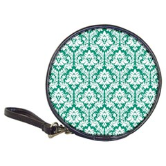 White On Emerald Green Damask Cd Wallet
