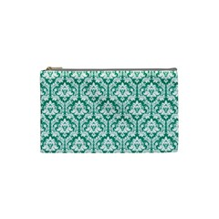 Emerald Green Damask Pattern Cosmetic Bag (Small)