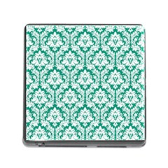 White On Emerald Green Damask Memory Card Reader With Storage (square)