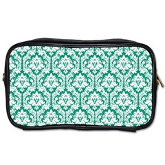 White On Emerald Green Damask Travel Toiletry Bag (one Side)