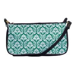 Emerald Green Damask Pattern Shoulder Clutch Bag