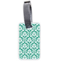 White On Emerald Green Damask Luggage Tag (two Sides)