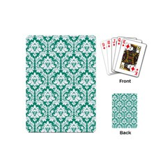 White On Emerald Green Damask Playing Cards (Mini)