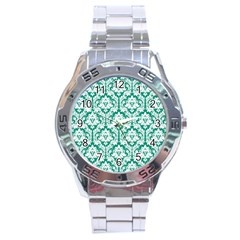 White On Emerald Green Damask Stainless Steel Watch