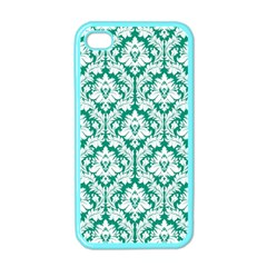 White On Emerald Green Damask Apple Iphone 4 Case (color)
