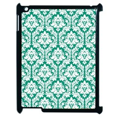 White On Emerald Green Damask Apple Ipad 2 Case (black)