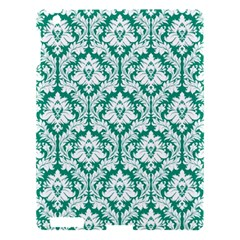 White On Emerald Green Damask Apple iPad 3/4 Hardshell Case