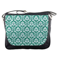 Emerald Green Damask Pattern Messenger Bag