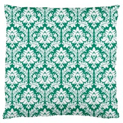 Emerald Green Damask Pattern Large Cushion Case (One Side)