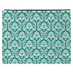 Emerald Green Damask Pattern Cosmetic Bag (xxxl)
