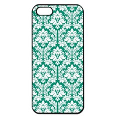 White On Emerald Green Damask Apple Iphone 5 Seamless Case (black)