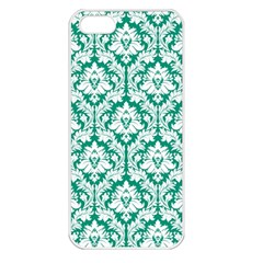 White On Emerald Green Damask Apple Iphone 5 Seamless Case (white)