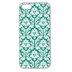 White On Emerald Green Damask Apple Seamless iPhone 5 Case (Clear)