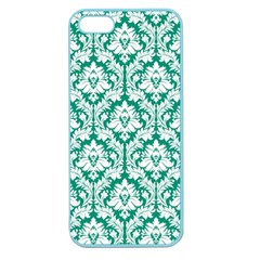 White On Emerald Green Damask Apple Seamless Iphone 5 Case (color)